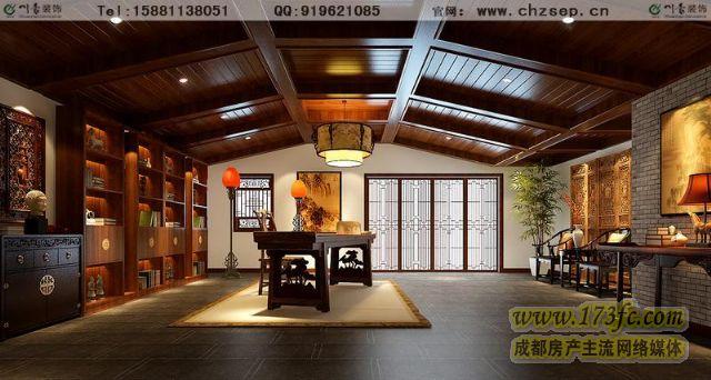 鹭湖宫别墅装修-新中式风格效果图