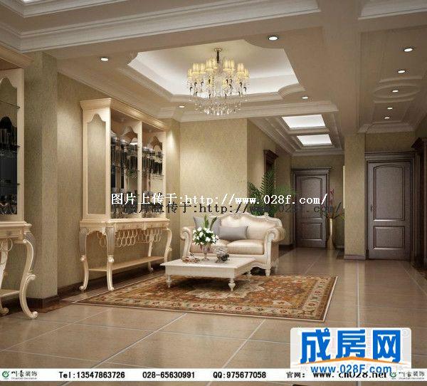 具有欧式风味的石膏线条多层吊顶,更完美的体现出欧式风格的豪华与